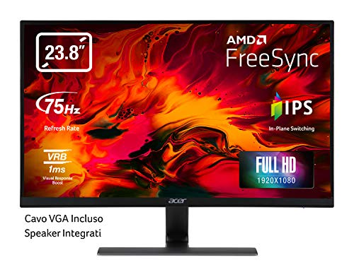 Acer Nitro RG240Ybmiix 23.8 Inch FHD Gaming Monitor, Black (IPS Panel, FreeSync, 1ms, ZeroFrame, HDMI, VGA)
