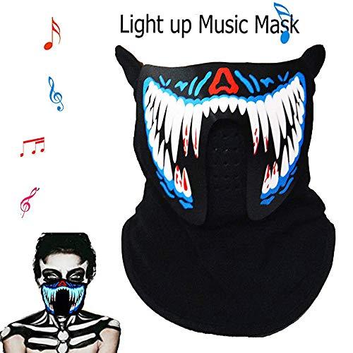 JJIIEE Mode Atmungsaktive Gesichtsbedeckung, Sound Activated Light Up Persönliche tragbare Luftreiniger, wiederverwendbarer LED-Musik-Gesichtsschutz, für Partytanzen, Reiten, Skaten, Festival