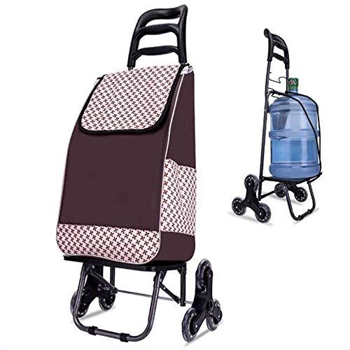 ZSAIMD Shopping Trolley -Leggero Resistente & Trendy Scomparsa Pieghevole/Pieghevole Push/Pull Carrelli Pieghevole Forte Impermeabile Festival Trolley 6 Ruote - Carrello a Bag