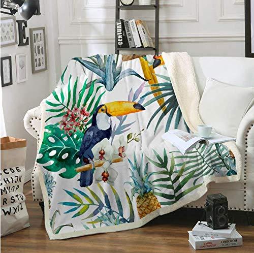 RKZM Warme Super Weiche Komfort Pflege Für Kinder Und Erwachsene Tukan Vögel Sherpa Decke Für Betten Tropische Pflanze Decke Ananas Tagesdecke 150 * 200 cm