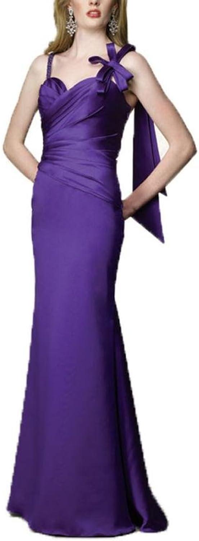Dearta Women's Sheath Column Straps FloorLength Satin Bridesmaid Dresses