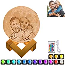 16 Colors Personalized Photo Night Light Customized 3D Printing USB Charging Moon Lamp Moon Light Night Light for Kids Gift for Women Mother's Day Gift(White 5.9inch/15cm)