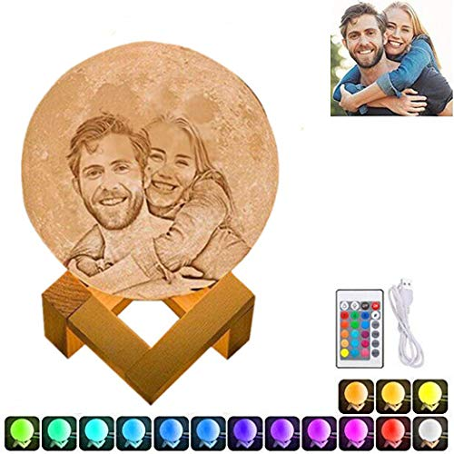 16 Colors Personalized Photo Night Light Customized 3D Printing USB Charging Moon Lamp Moon Light Night Light for Kids Gift for Women Christmas Gift(White 7.1inch/18cm)