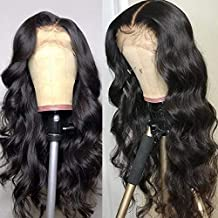 13x4 Body Wave Transparent Lace Front Wigs Human Hair 150% Density Pre Plucked with Baby Hair Brazilian Human Hair Wigs for Black Women Natural Color
