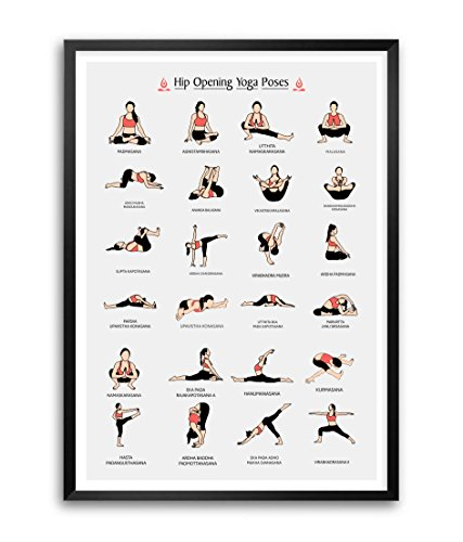 Lab NO 4 Hip Opening Yoga Poses and Asanas Framed Poster in A3 Size