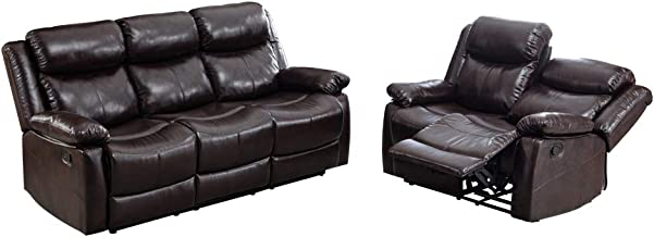 Mooseng PU Leather Recliner Set, Living Room Set, Sofa Loveseat Seat Reclining Double Seat with Pillow, Backrest and Armrests, Suitable for All Elderly, Casual Home Sofa, Brown