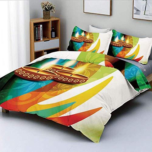 Juego de funda nórdica, decoración moderna de Paisley detallada de colores del arco iris con vela festiva, juego de ropa de cama decorativo de 3 piezas con 2 fundas de almohada, multicolor, el mejor r