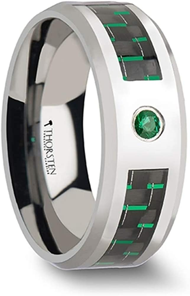 Comfort Fit Mens Tungsten Wedding Band Ring - Green Emerald with Black and Green Carbon Fiber - Style Name: Aspen - 8mm Wide