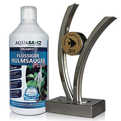 AQUASAN Aquarium Mulmvec Flüssiger Mulmsauger (Keine Mulmglocke + mechanisches Absaugen von Mulm, Schlamm im Aquarium mehr nötig, reduziert Aquariumgeruch), Inhalt:1 Liter