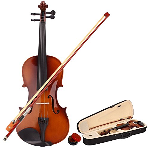 4/4 Full Size Violin, Natural Solid Wood Satin Acoustic Violin Starter Kit with Case, Bow, Rosin for Beginner Student (4/4,Natural)