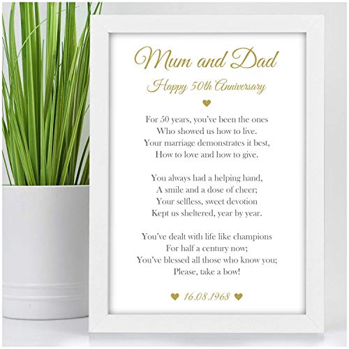 Personalised Mum And Dad Grandparents 50th Golden Wedding Anniversary Poem Gifts For Parents Grandparents Mr Mrs Him Her Black Or White Framed A5 A4 A3 Prints Or 18mm Wooden Blocks