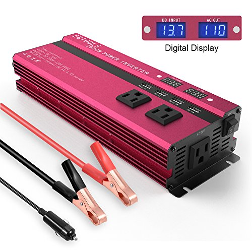 EBTOOLS Car Power Inverter, 1000W/2000W Digital Display Inverter 12V DC to 110V AC Car Converter with 3 AC Outlets, 4 USB Port for Laptop, Smartphone, Household Appliances, in case Emergency, Storm