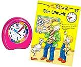 Kinderwecker Ohne Ticken Mädchen Rosa mit Lernbuch Conni Buch Uhrzeit