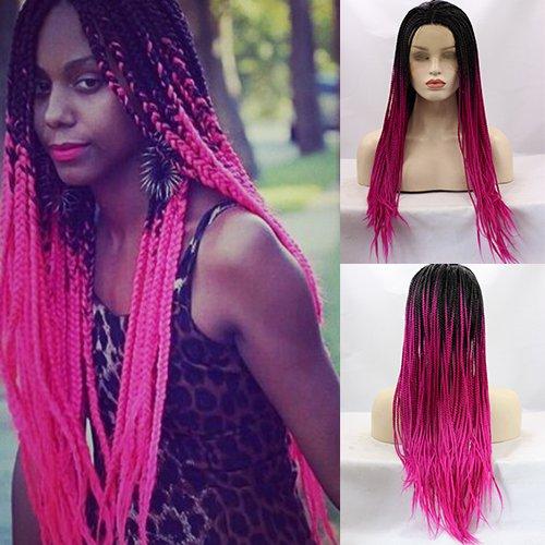 Party Queen hitzebeständig dunklen Wurzeln Ombre Rose Rot Hair Perücken Half Hand auf Synthetische Lace Front Natur lang geflochten Braid Perücke