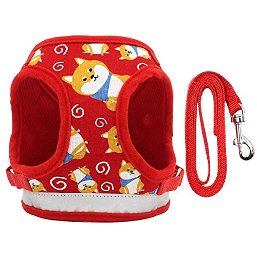 OPKLNM Printed Dog Cat Harness Puppy Small Dogs Harnesses Vest for Chihuahua French Bulldog Walking Training Dog Harness and Leash Set