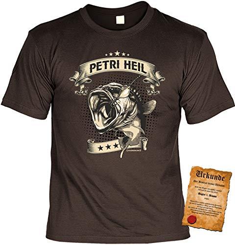 Angler Tshirt, Spruch - Motiv Angelsport : Petri Heil - Bekleidung Angeln Fischen Gr: M