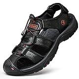 Unitysow Sandalias Hombre Verano Los Zapatillas de Senderismo Transpirable Peso Ligero Cuero Camper Deportivas Sandalias Al Aire Libre Pescador Playa Zapatos,Negro,44