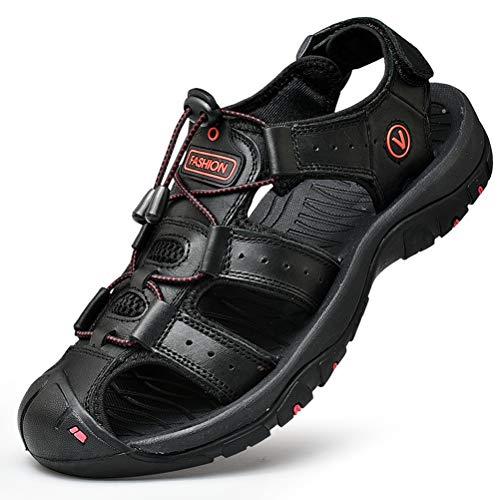 Unitysow Sandalias Hombre Verano Los Zapatillas de Senderismo Transpirable Peso Ligero Cuero Camper Deportivas Sandalias Al Aire Libre Pescador Playa Zapatos,Negro,45