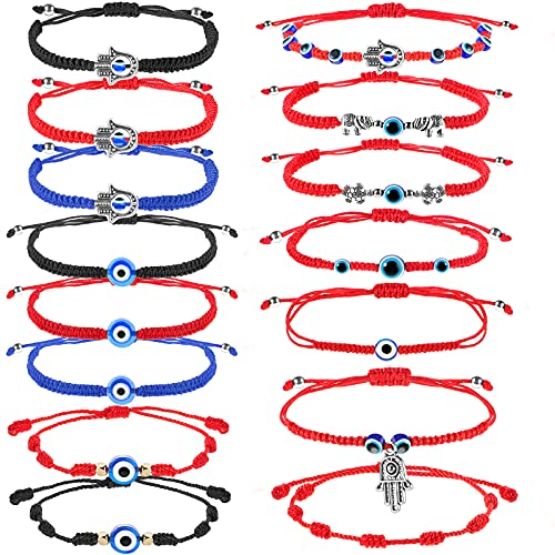 16 Pulseras de Mal de Ojo Pulsera de Suerte Trenzada Ajustable de 7 Nudos Pulsera de Cuentas de Cordón Rojo Amuleto de Protección de Cabalá de Mano de Hamsa para Mujer Hombre