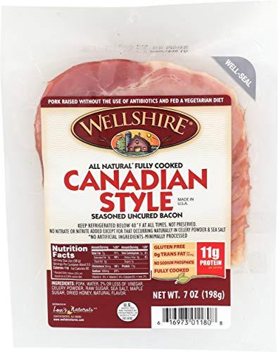 Wellshire Farms, Canadian Style Seasoned Uncured Bacon, 7 oz