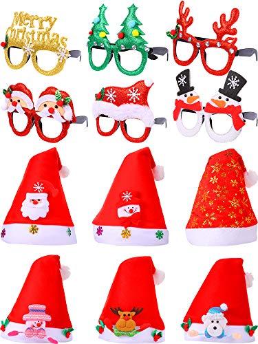 SATINIOR 12 Piezas de Gafas de Sol de Fiesta de Brillo Navideño Gafas Divertidas Creativas Sombrero de Navidad Sombreros No Tejidos de Papá Noel, Fiesta de Disfraces Suministros de Fiesta Decoración