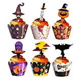 48 Pieces Halloween Cupcake Toppers Cupcake Wrappers Kit for Halloween...