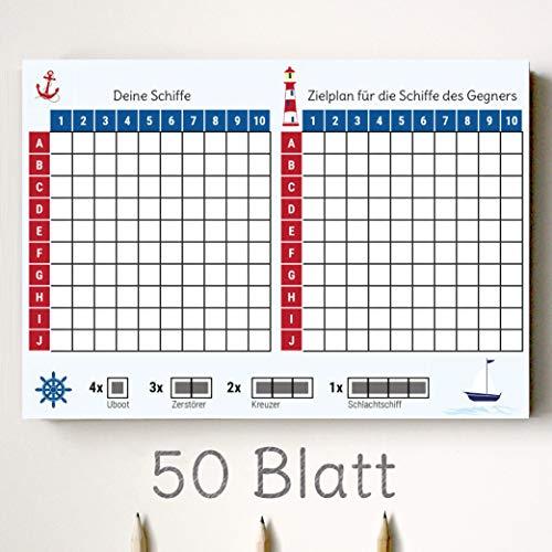 Kipitan Schiffe Versenken Spielblock – 1 Block mit 50 Blatt - Reisespiel aus Papier - Das Flottenmanöver für zuhause oder Mitbringspiel für unterwegs