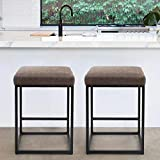 PHI VILLA Bar Stools Set of 2,24 Inches Square Leather Counter Height Bar Stools Without Back for Kitchen,Dining Room and Living Room,Modern Designed Bar Stools Furniture Decorates Every Room,Brown