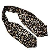Mens Ascot Cravat & Matching Handkerchief - Vintage Style (Black Paisley), Black & Gold Paisley, One Size
