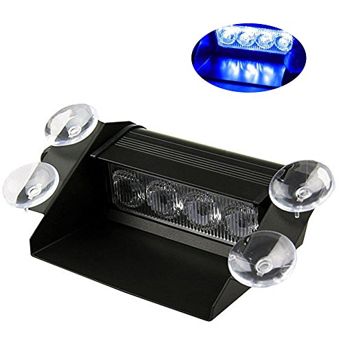 HEHEMM LED blitzer, LED Frontblitzer 12V 4 LED Warnleuchte Auto Blitzleuchte Autolicht Notlicht Dashboard Dash Visier Stroboskopleuchten Notfall Hazard Achtung Bar (Blau)