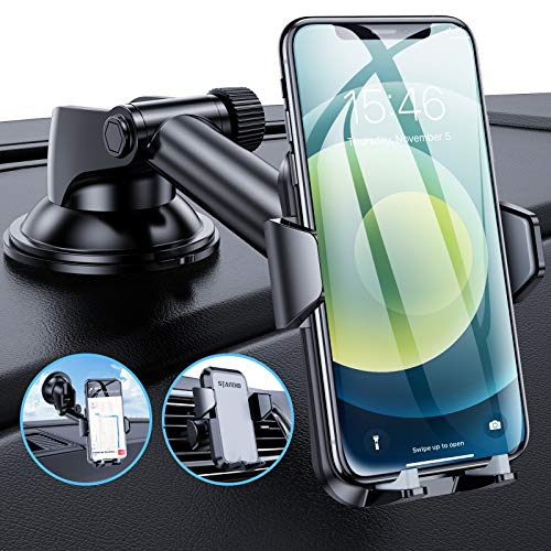 Standio Car Phone Holder Mount, Universal Phone Car Holder with Suction Pad and Air Vent Clip for Dash, Windshield and Air Vent Compatible with iPhone, Samsung and Other Mobile Phones