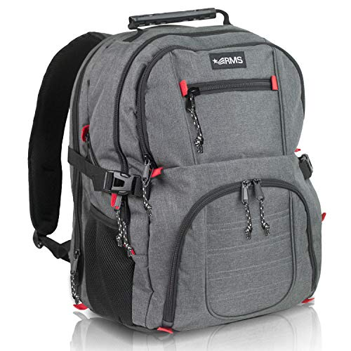 RMS Travel Laptop Business Backpack - Large Capacity and Anti Theft Backpacks for Men, Women or Students - Fits up to 17 inch Notebook (Gray with Red Accents)