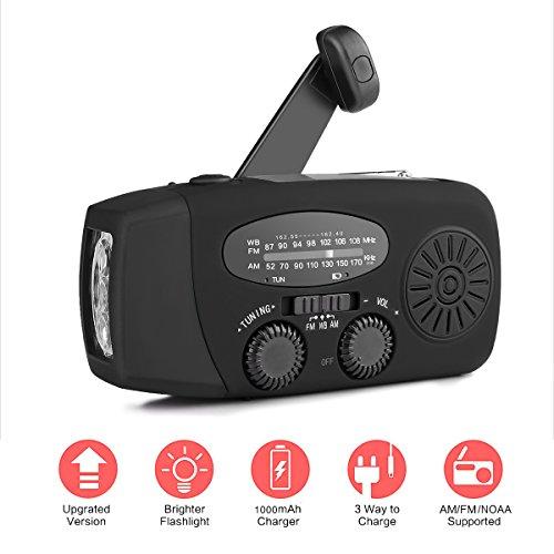AOZBZ Solar Radio Portátil, Manivela de la Mano Am/FM/NOAA Radio, Multifuncional Dinamo Weather Radio 3-LED Linterna y Cargador