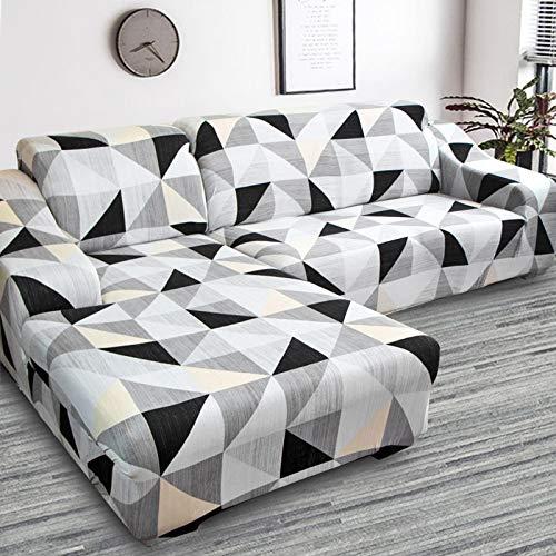 Funda de sofá de Sala de Estar Impresa en Forma de L Funda Protectora de sofá Funda de sofá de Esquina elástica a Prueba de Polvo A23 2 plazas
