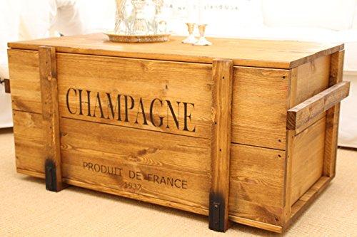 Uncle Joe´s Truhe Champagne Couchtisch Truhentisch im Vintage Shabby chic Style aus Massiv-Holz in braun mit Stauraum und Deckel Holzkiste Beistelltisch Landhaus Wohnzimmertisch Holztisch nussbaum - 4