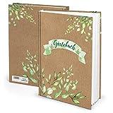 Libro de visitas verde y marrón, DIN A4, papel de estraza para bodas, libro de visitas, hojas naturales, 164 páginas, para bodas, apartamentos, cumpleaños, color verde claro natural