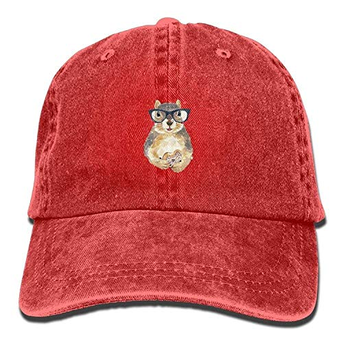 Basecap Hip-Hop Cap Kappe Unisex Snapback Meius Nerdy Squirrel with Glasses Dessert Unisex Adjustable Lightweight Breathable Soft Baseball Cap Red