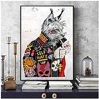 大きなサイズの動物の落書きアート喫煙猫のキャンバス油絵壁アートポスターとプリント壁の写真リビングルームの家の壁の装飾60x80cm(24x32in)