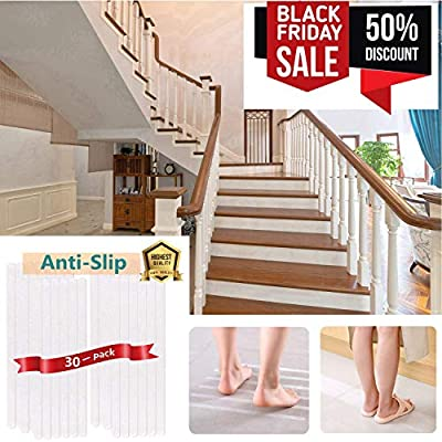 "30 Pack Anti Slip Stair Treads 26"" Non Slip Clear Floor Treads Tape Premium Home Transparent Adhesive Floor Treads for Indoor Stairs Treads Pets Elders Non-Slip for Child Elders Pets Safety, No Stair"