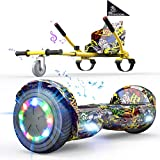 EverCross Hoverboard, Hoverboard for Adults, Hoverboard with Seat Attachment, 6.5' Hover Board Self Balancing Scooter with Bluetooth Speaker & LED Lights, Suit for Adults and Kids (Yellow)