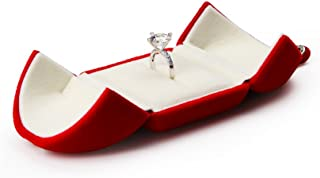 Oirlv Red Velvet Ring Box for Proposal/Engagement/Wedding Premium Jewelry Gift Box