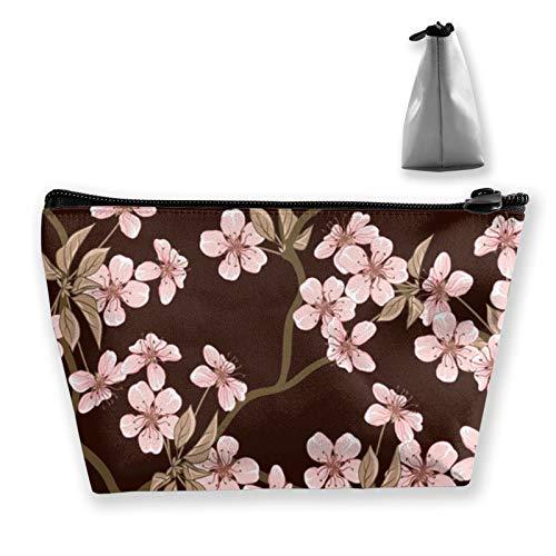 Flores de cerezo Bolsas de Cosméticos Mujeres Niños Lindo Pug Perro Maquillaje Bolsa de Cremallera Bolsa de Niñas Adolescentes Viaje Hermoso Bolsa de Almacenamiento