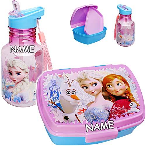 alles-meine.de GmbH 2 TLG. Set: Trinkflasche + Lunchbox / Brotdose - Disny Frozn - die Eiskönigin - inkl. Name - BPA frei - mit extra Einsatz / Fächern - herausnehmbaren Fach - B..