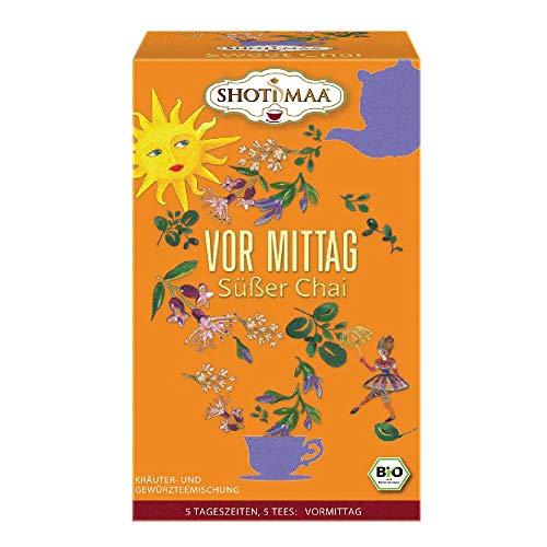 6 x Shoti Maa Bio Tee 5 Tageszeiten | Vor Mittag | Süßer Chai | Gewürz- und Kräutertee | Ayurveda Tee | 6 x 16 Teebeutel (96 Teebeutel)
