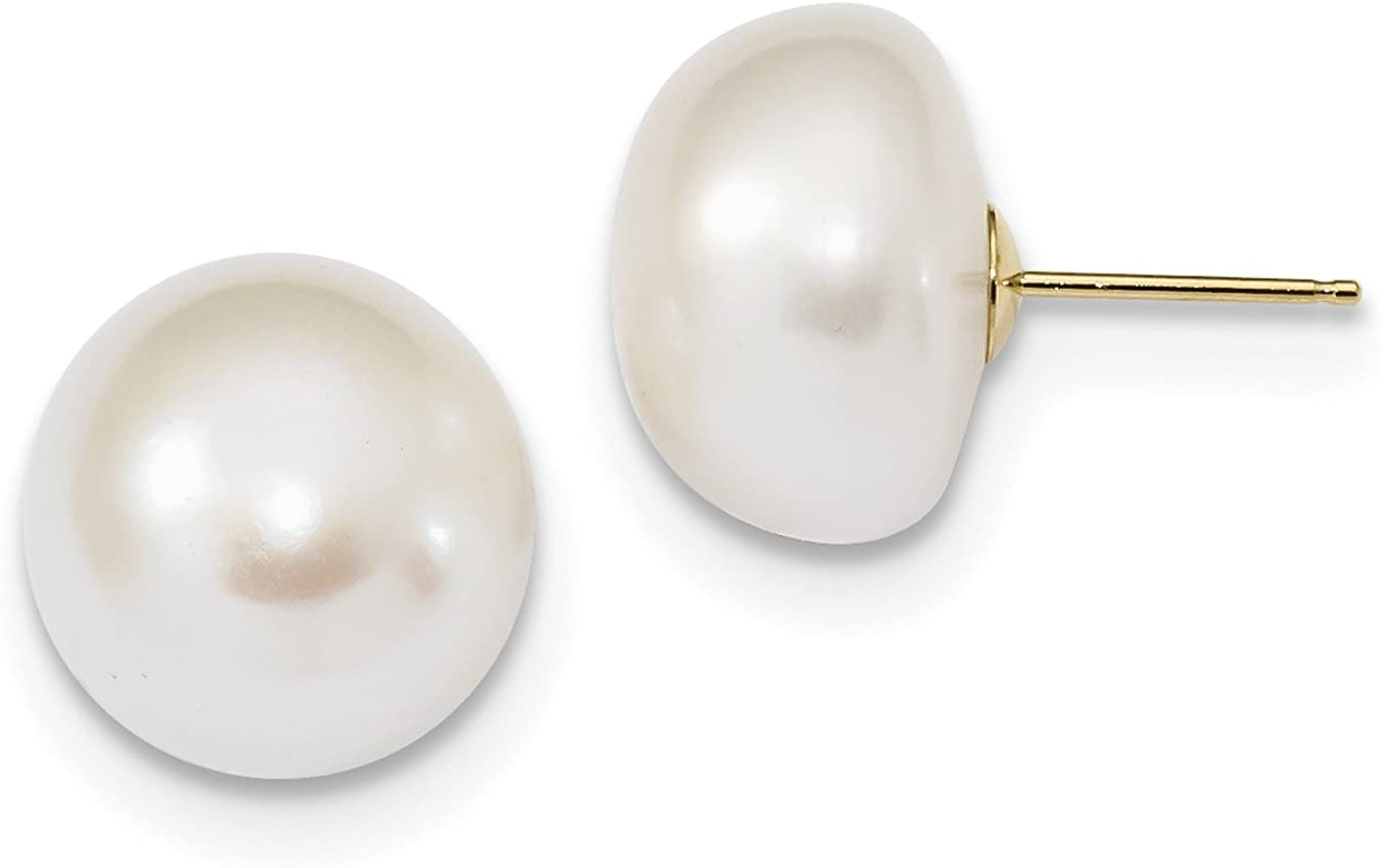 14k 13-14mm White Button Freshwater Cultured Pearl Post Earrings