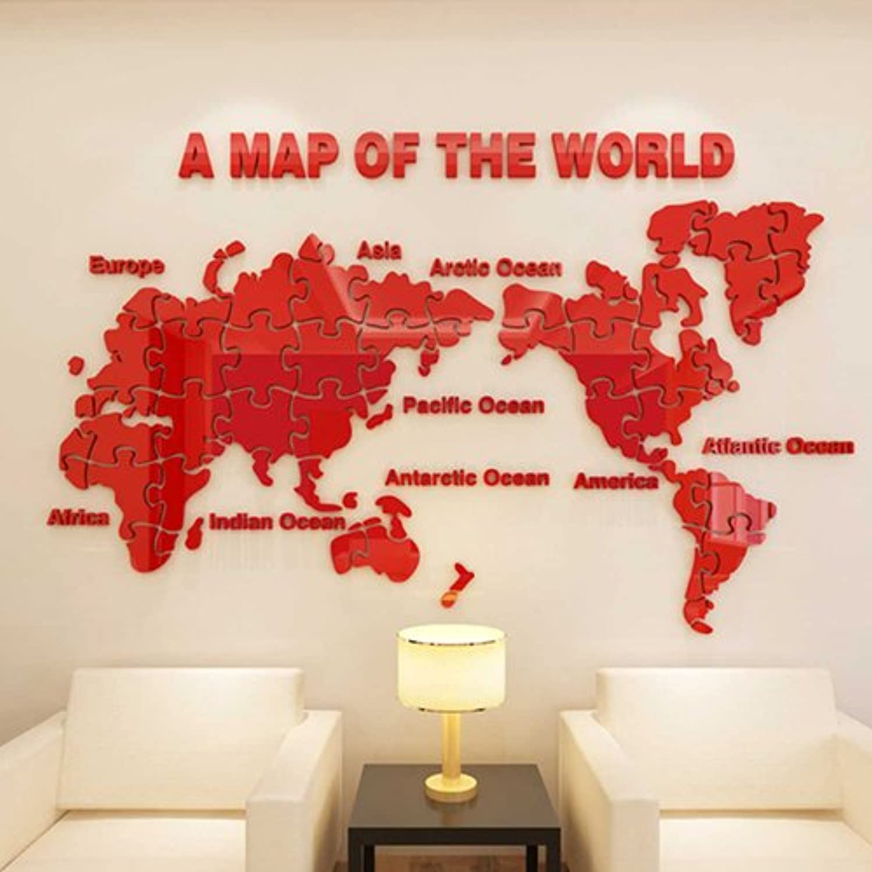 clásico atemporal World Map Wall Sticker acrylic 3D Wallpaper Wallpaper Wallpaper sticker living room sofa TV background decoration wall decoration,022 world puzzle 1- all rojo,in  venta mundialmente famosa en línea