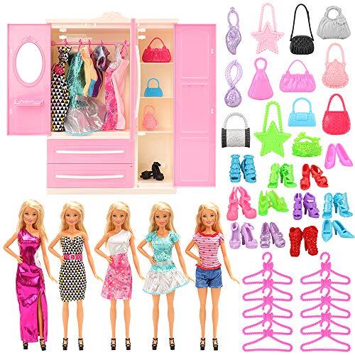 Festfun - 36 unidades para muebles de muñeca = 1 armario + 5 vestidos, 10 zapatos, 10 perchas y 10 bolsas para muñecas de 11,5 pulgadas