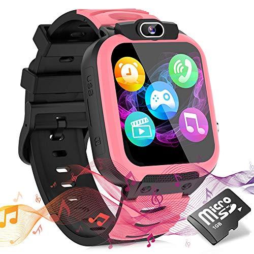 Smartwatch Kinder Uhr Telefon Smartwatches für Kinder Mädchen Jungen mit Musik Player Spiel Kamera SOS Wecker Recorder, Smart Watches for Kids, Geburtstagsgeschenk für Kinder (Pink)