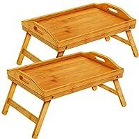 pipishell - vassoio da letto in bambù con gambe pieghevoli, vassoio per la colazione con maniglie, ideale per bambini, coppie, divano, letto, mangiare, lavorare, usato come vassoio per snack