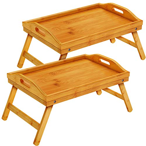 Pipishell Bamboo Bed Tray Table with Foldable Legs, Breakfast Tray with Handles, Ideal for Kids, Couples, Sofa, Bed, Eating, Working, Used As Laptop Desk Snack Tray - 2 Pack